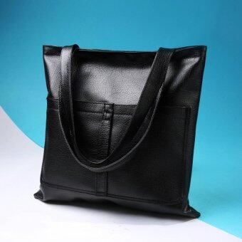 Harga Trendy fashion handbag ladies bag large capacity simple shoulder large Tote bag(Black) - intl