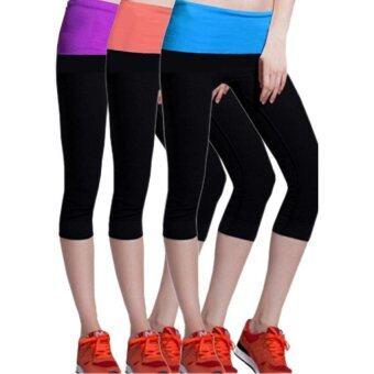 PBx เซ็ทกางเกงโยคะสำหรับออกกำลังกายกระชับสัดส่วน 1 เซ็ท 3 ชิ้้้น (สีส้ม สีม่วง สีฟ้า)