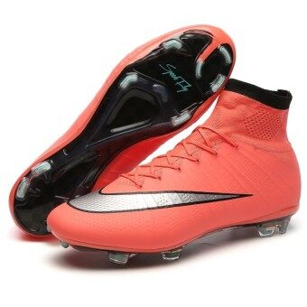 SpeedFly Superfly รองเท้ากีฬารองเท้าฟุตบอลรองเท้าสูง FG ฝึกฟุตบอลกีฬากลางแจ้งส้ม