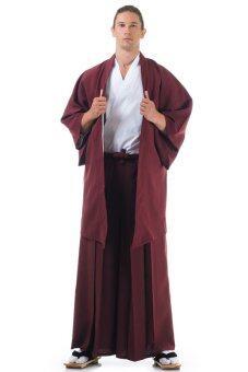 Princess of asia ชุดฮากามะ พร้อมเสื้อคลุมฮาโอริ - สีเลือดหมู/ขาว