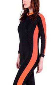 แขนเสื้อยาวสาวเนียนชุดว่ายน้ำเปียกชุดดำน้ำชุดว่ายน้ำฤดูใบไม้ผลิฤดูใบไม้ร่วงทั้งร่างกาย-ส้ม