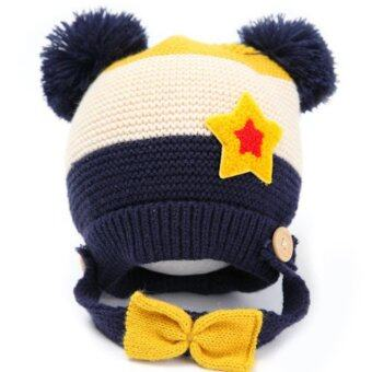 Passion Shop GZMM หมวกไหมพรมเด็กเกาหลี พร้อมสายรัดคาง ติดโบว์ สีกรมท่า