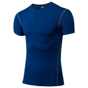 คนกีฬาและออกกำลังกายฝึกจนคล่องตัวรวดเร็วเช็ดขาสั้นวิ่งเสื้อเสื้อยืด (สีน้ำเงิน)