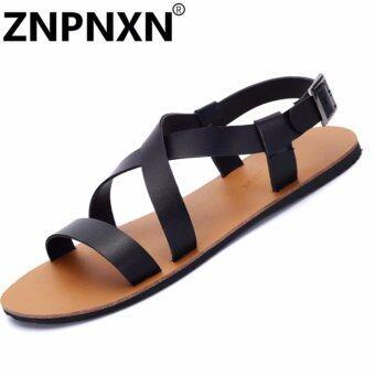 แฟชั่นรองเท้าแตะหนัง ZNPNXN ผู้ชาย (สีดำ)