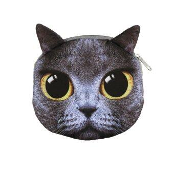 นิวน่ารักผู้หญิงกระเป๋าสะพายซิปหน้าแมวส่งพิมพ์การ์ตูนเงินเหรียญกระเป๋าคลัตช์การปิด
