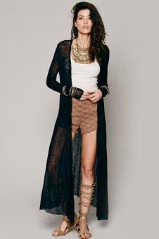ไซเบอร์ใหม่ผู้หญิงแฟชั่นหญิงแขนเสื้อยาว O คอเสื้อนอกลำลองเสื้อคาร์ดิแกนยาวเรียว (สีดำ)