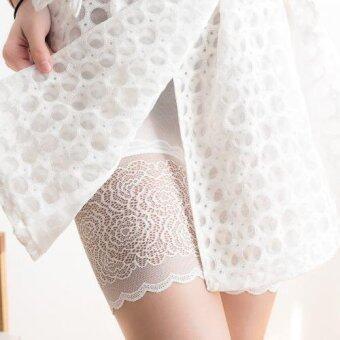 Mamon Shop กางเกงซับในสำหรับคนท้อง ปลายขาลายลูกไม้ (สีขาว)