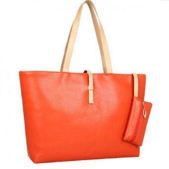 Open กระเป๋าแฟชั่น กระเป๋าสะพายข้าง+กระเป๋าสตางค์ ขอบทอง รุ่น54 (สีส้ม)