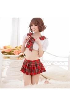 เครื่องแบบนักเรียนหญิงสไตล์รูปแบบลายของเสื้อชุดนอนชุดชั้นในชุดกระโปรงมินิ - ฟรีไซส์