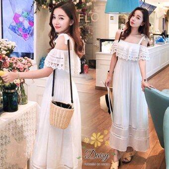 Daisy ชุดเดรส ลูกไม้ เกาหลี สายที่ไหล่ปรับได้ Risa023 (สีขาว)