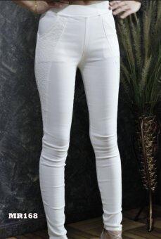 Platinum Fashion กางเกงขายาวรัดรูป ทรงสกินนี่ ลายดอกไม้ รุ่นMR168