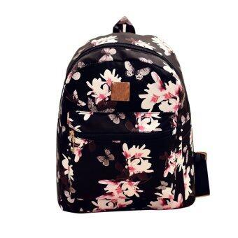 กระเป๋าเป้แฟชั่นผู้หญิงกระเป๋าหนังพิมพ์ลายเหตุสีดำ