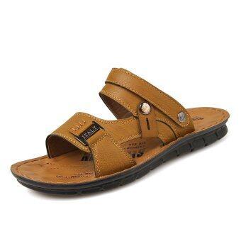 รองเท้าแตะรองเท้าหนังผู้ชายก้นร้อน ๆ รองเท้าแตะหาด (สีเบจ)