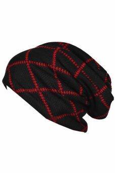 แฟชั่นหมวกไหมพรมหมวกแบบทหารอิดโรยไซส์ใหญ่พิเศษสำหรับบุรุษ และหมวกฤดูหนาวอันเก๋ไก๋สีดำบวกสีแดง-ระหว่างประเทศ
