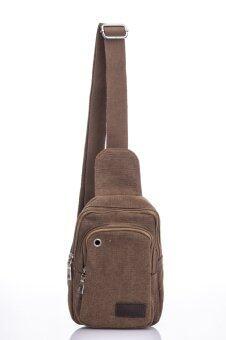 Premium Bag กระเป๋าคาดอก คาดเอว สะพายไหล่ รุ่น PB008 (สีน้ำตาล)
