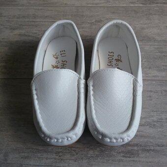 Alice Shoe รองเท้าเด็ก Loafer แฟชั่นเด็กผู้ชาย&เด็กผู้หญิง รุ่น LF001-W (สีขาว)