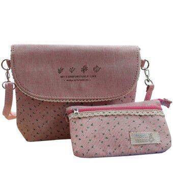Peimm Modello กระเป๋าสะพายพาดลำตัว+กระเป๋าถือ ทอลายยีนส์ พิมพ์ลายดอกไม้ สไตส์ญี่ปุ่น (สีชมพู )