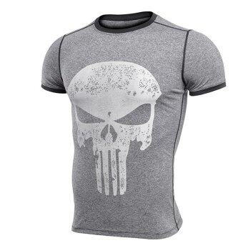 Harga Jiayiqi Men's Compression T-shirts 3D Skull Short Sleeve Athletic Sport T-shirts - intl
