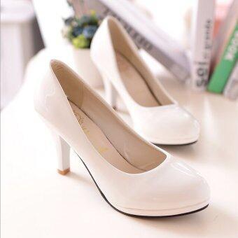 D74 แทงนิ้วหญิงรอบงานปั๊มงานแพลตฟอร์มรองเท้าส้นสูงสีขาวสว่าง