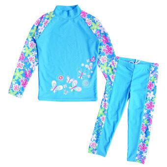 แฟชั่นหน้าร้อนสองชิ้นสีน้ำเงินพิมพ์ลายการป้องกันยูวีชุดว่ายน้ำสำหรับเด็กปี