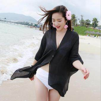 Harga Summer Women Fashion Candy Color Pure Color Variety Chiffon Beachwear Pearl Button Yarn Clothing Sun Clothes (Black) - intl