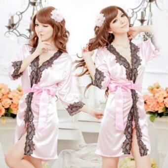 Harga MeiNiang Brand lingerie sexy cute lace cardigan suit gown bathrobe simulation embroidery lace manufacturers 7011 - intl