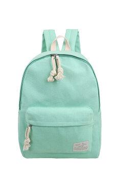 บริสุทธิ์สีอเนกประสงค์กระเป๋าเป้กระเป๋านักเรียนโรงเรียนกลางแจ้งผ้าถุงหิ้วสมุดท่องเที่ยวสีเขียว