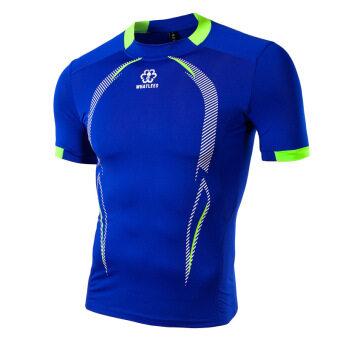 ซัมเมอร์นิวชายเสื้อยืดเช็ดกีฬากลางแจ้งอย่างการพิมพ์ลายเย็บเสื้อสีน้ำเงิน