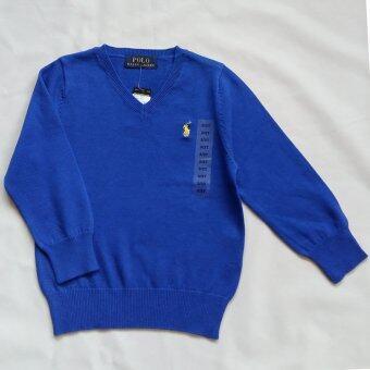Polo Ralph Lauren เสื้อไหมพรมคอวีแขนยาวเนื้อนุ่มๆ สีน้ำเงิน ปักม้าโปโล Signature สีเหลือง