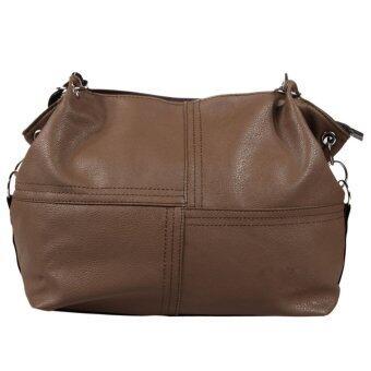 กระเป๋าถือผู้หญิงกระเป๋าหนัง Pu (สีน้ำตาลอ่อน)
