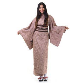 Princess of asia กิโมโนยาวผู้หญิงพิมพ์ลาย (สีน้ำตาล)