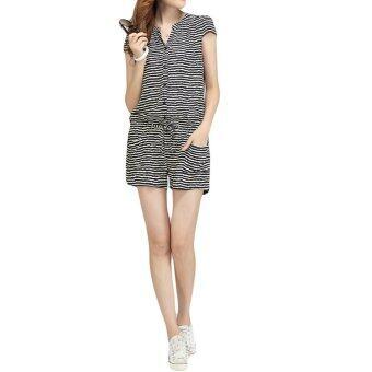 แฟชั่นเกาหลีแขนสั้นเอวยางยืดผู้หญิงเปิดดูเต็มไปด้วยริ้วกางเกงขาสั้น