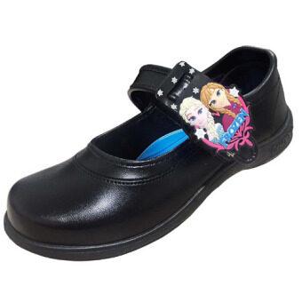 Chappy รองเท้านักเรียนหญิง Frozen เจ้าหญิงเอลซ่า และเจ้าหญิงอันนา แถบแม่เหล็ก-สีดำ