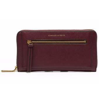 Harga CHARLES & KEITH FRONT ZIP DETAIL WALLET (BURGUNDY)
