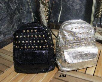 Platinum Fashion กระเป๋าสะพายหลังแฟชั่น สีเงิน ผ้าหนาดี ทน รุ่น404