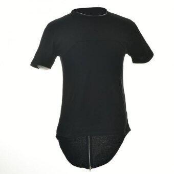ย้อนกลับซิปห้อยเสื้อยืดผู้ชายเสื้อฮิปสตรีทแวร์ฮิปฮอปสเกตบอร์ดกลมสีดำ