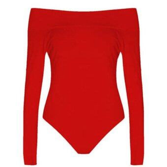 Harga HengSong Women Ladies Cotton Off-Shoulder Long Sleeve One-Piece Slim Body Shaperwear Red - intl