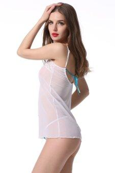 Cyber Women New Sexy Lace Lingerie Dress Bodycon Strap Underwear G-string (White)