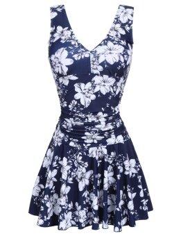 Azone Women Plus-Size V-Neck One Piece Swim Dress Swimsuit Padded Floral Beach Wear ( Multicolor ) - intl