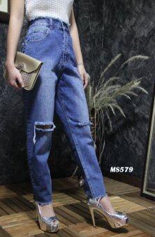 Platinum Fashion กางเกงยีนส์ขายาวเอวสูง แต่งขาด รุ่นMS579