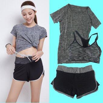 ชุดออกกำลังกาย โยคะ Indoor Exercise Clothing แพ็คคู่ 3 ชุด - สีเทา(สปอร์ตบรา+กางเกงสำหรับออกกำลังกาย+sport clothing)