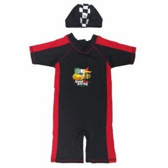 Intrend4kids ชุดว่ายน้ำเด็ก Bodysuit ลาย Speed Car UV Protection (สีดำ-แดง)
