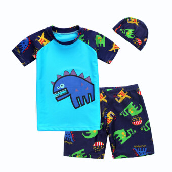 Intrend4Kids ชุดว่ายน้ำเด็กผู้ชาย เสื้อกางเกง พร้อมหมวก ลาย Cute Dino - (สีฟ้า)