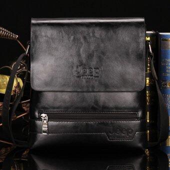 Jeep กระเป๋าสะพายไหล่กระเป๋าหนังวัวตายคนธุรกิจสบาย ๆ กระเป๋ากระเป๋าแมสเซนเจอร์ (ขนาดใหญ่/สีดำ)