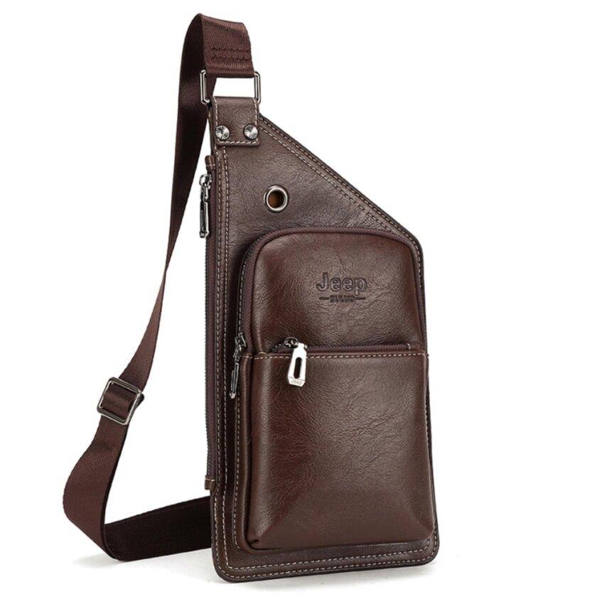 Jeep men's chest bag leisure shoulder bag youth boy fashion Messenger bag (Brown) - intl