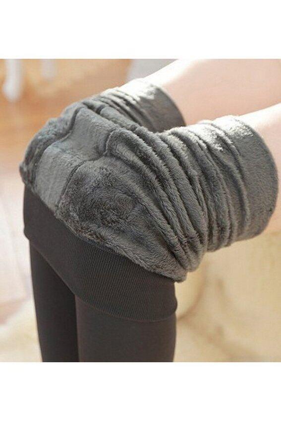 Jetting Buy กางเกงยืดขนอันอบอุ่นเต็มไปด้วยผู้หญิงสีเทา
