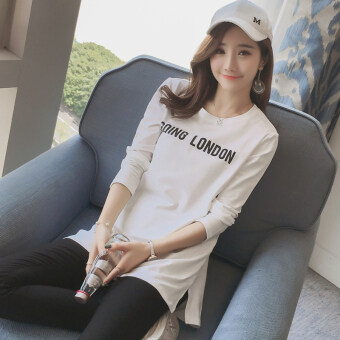 Jianyue ผ้าฝ้ายหญิงหลาใหญ่เสื้อเสื้อยืดเสื้อ (สีขาว)