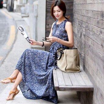 Jiayiqi Women's Long Maxi Dress Casual Floral Dress SleevelessO-neck Plus Size Blue - intl - 5