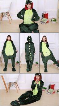 Jingle ไดโนเสาร์ชุดนอน Unisex สำหรับผู้ใหญ่ COSPLAY ชุด Onesie ชุดนอน S-XL (สีเขียว)