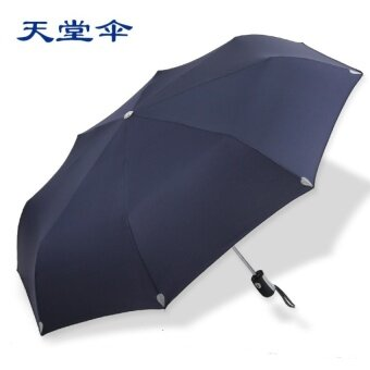 JOJO Umbrella Automatic Umbrella Reinforcement Fashionultralight Mens Business Umbrella Automatic Three Folding Umbrellamale (3 Navy Blue) - intl